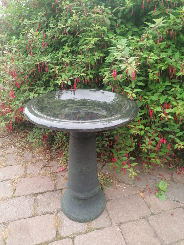 green birdbath